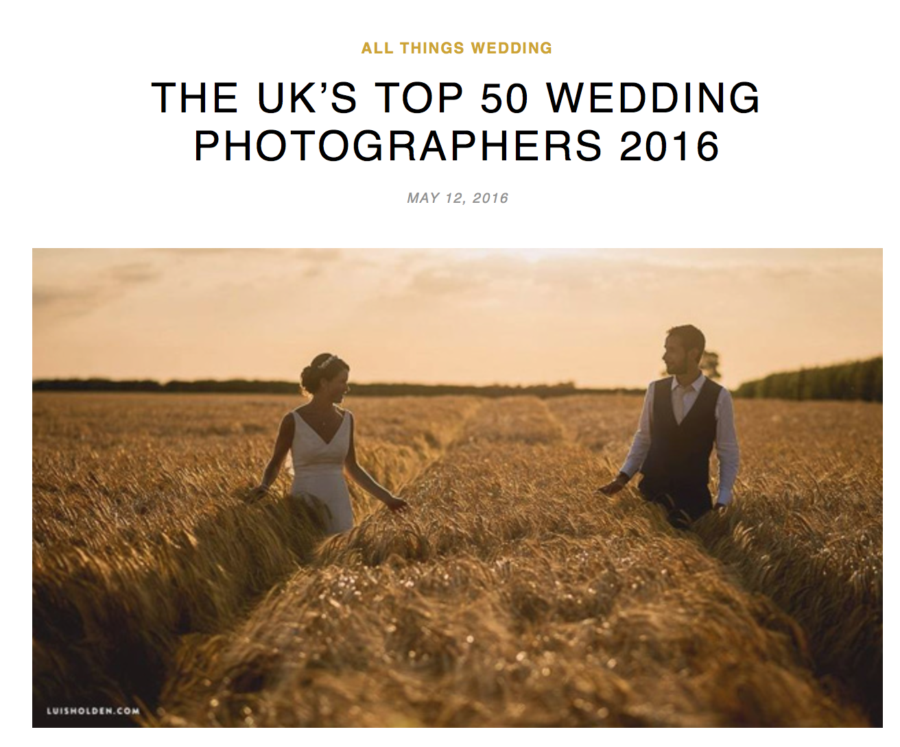 UK's Top 50 Wedding Photographers 2016