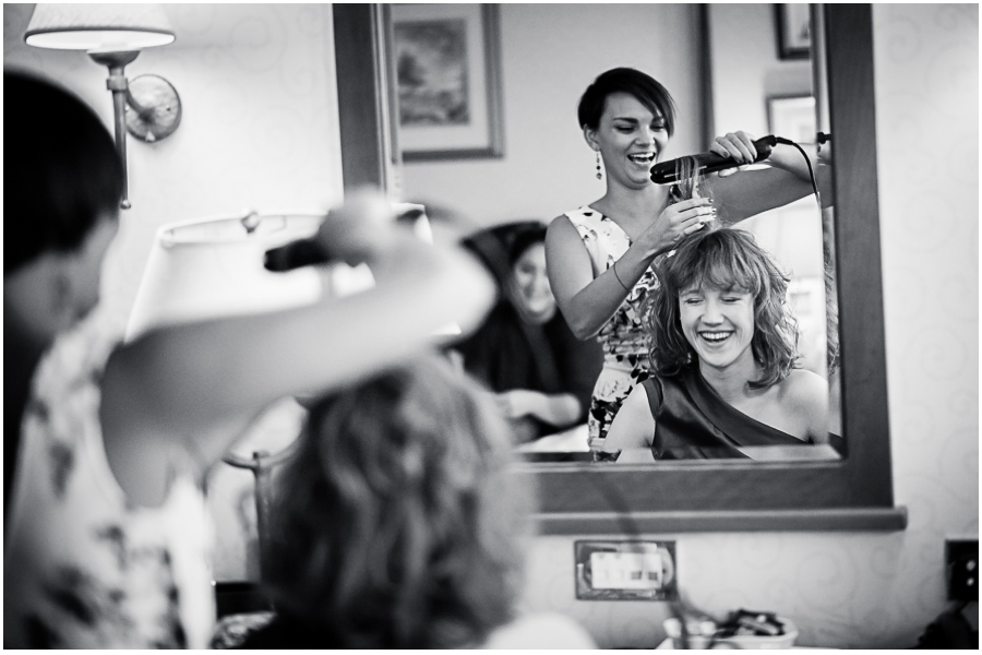 wedding photographer Windsor, hairdresser and bridesmaid