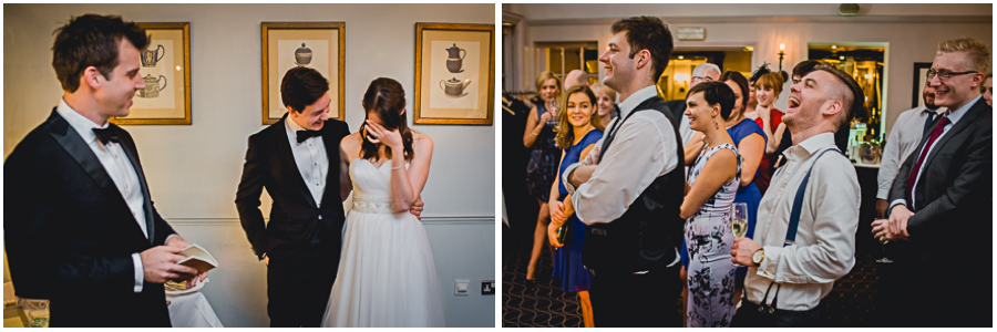 wedding photographer Windsor, weeping bride, laughing guests